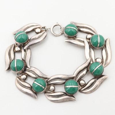 Vintage Mexican Sterling Silver Glass Bracelet