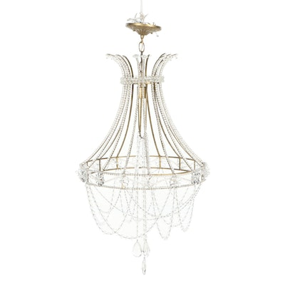 Glass Beaded Metal Frame Chandelier, Late 20th Century