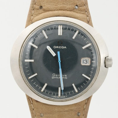 Vintage Omega Geneve Dynamic Stainless Steel Stem Wind Wristwatch