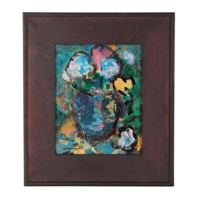 Robert Canete Abstract Floral Oil Painting