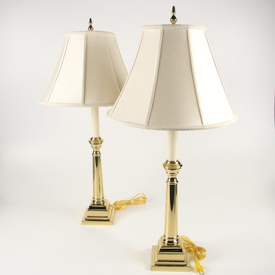 Virginia Metalcrafters Brass Candlestick Lamps with Silk Shades