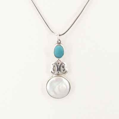 Sterling Silver Mother of Pearl and Turqouise Pendant Necklace