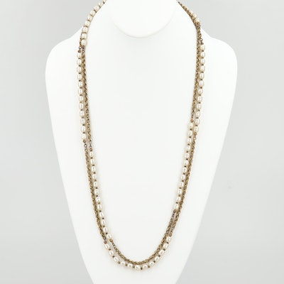 Circa 1960s Miriam Haskell Imitation Pearl Necklace