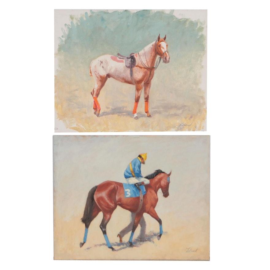 Thad E. Leland Equestrian Oil Paintings