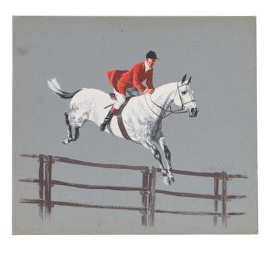 Thad E. Leland Equestrian Gouache Painting