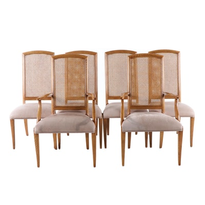 Six Henredon, Oak, Caned-Back, and Leather-Upholstered Dining Chairs