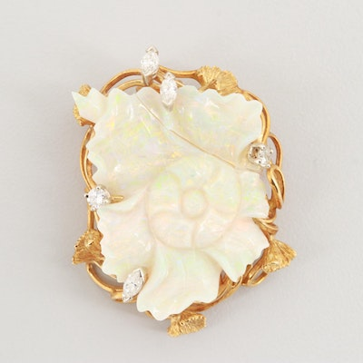 Wachler 18K Yellow Gold Opal and Diamond Floral Converter Brooch