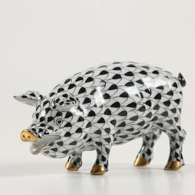 """Herend Black Fishnet """"Miniature Pig"""" Porcelain Figurine, 1996"""