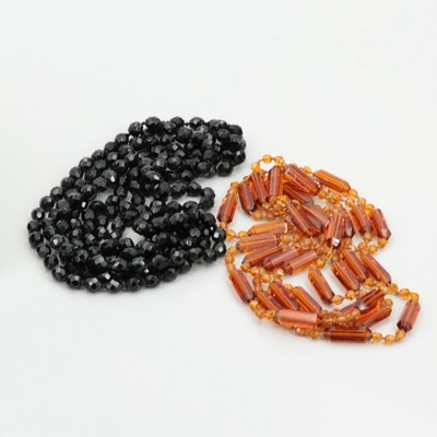 Faceted Glass Beaded Endless Necklaces