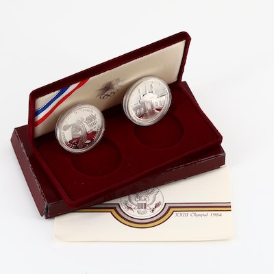 1984 XXIII Olympiad Commemorative Two Coin Set
