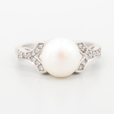 10K White Gold Cultured Pearl Diamond Ring