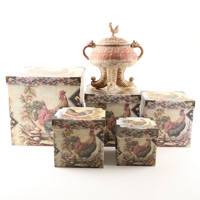 Rooster Themed Nesting Boxes and Lidded Container