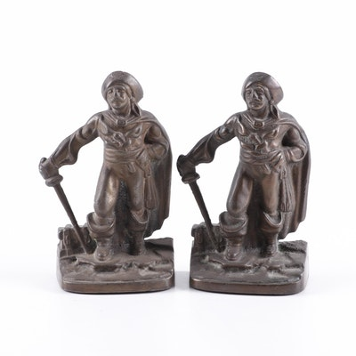 Cast Metal Pirate Bookends, Early 20th Century