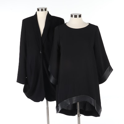 Anne Fontaine Black High-Low Chiffon Tunic Trimmed in Leather and Blazer