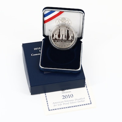 2010-W Disabled Veterans Commemorative Silver Dollar Proof Coin