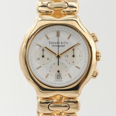 Tiffany & Co. Tesoro 18K Yellow Gold Quartz Chronograph Wristwatch