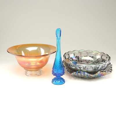 Carnival Style Glass Serving Bowls with Swung Hobnail Vase