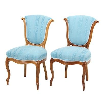 Pair of Beidermeier Style Wooden Upholstered Chairs