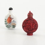 Chinese Carved Lacquer and Ceramic Snuff Bottles