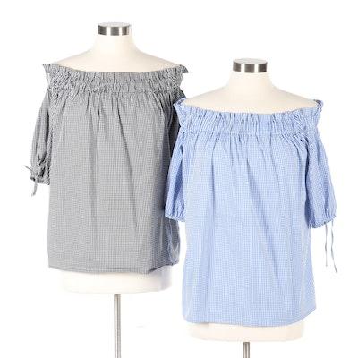 Luisa Spagnoli Gingham Off-the-Shoulder Shirts