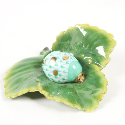 "Herend First Edition Raspberry Fishnet ""Ladybug on a Leaf"" Porcelain Figurine"
