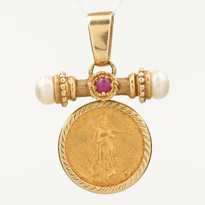 14K Ruby and Pearl Bezel Pendant with 1998 $5 1/10th Troy Ounce Gold Eagle Coin