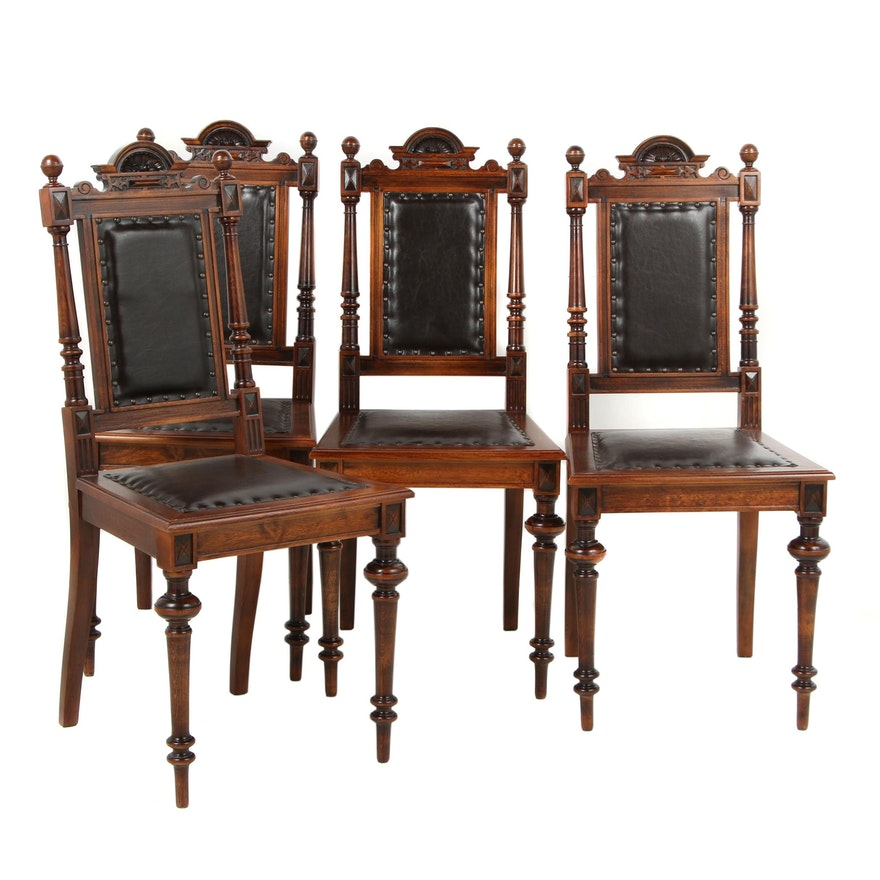 Set of Four Gründerzeit Style Wooden Dining Chairs with Leather Upholstery