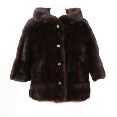 Dark Mahogany Mink Fur Jacket with Rhinestone Buttons from Lazarus, Vintage