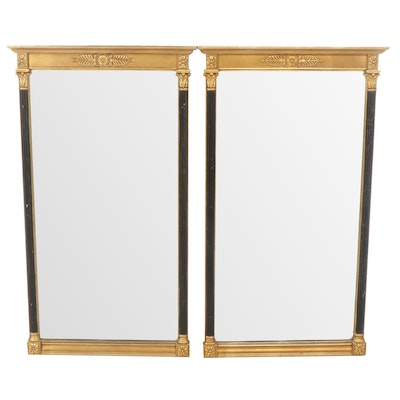 Neoclassical Style Gold and Black Painted Wood Wall Mirrors