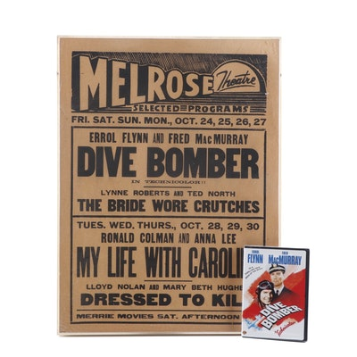"1941 Movie ""Dive Bomber"" DVD and Original Letterpress Advertising Poster"