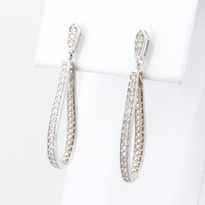 10K White Gold Diamond Dangle Loop Earrings