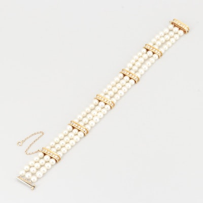 18K Yellow Gold Cultured Pearl and Diamond Triple Strand Bracelet