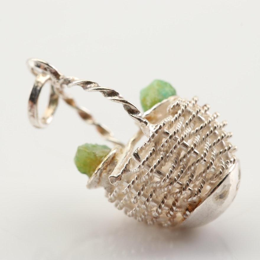 900 Silver Basket Charm