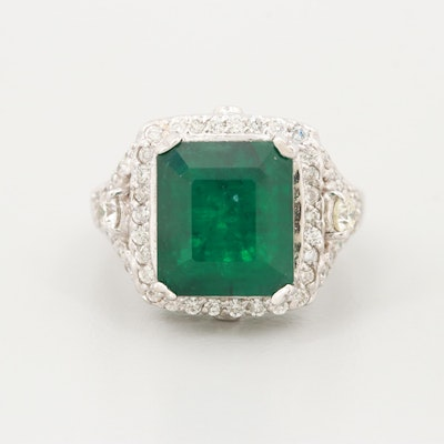18K White Gold 5.07 CT Emerald and 1.07 CTW Diamond Ring