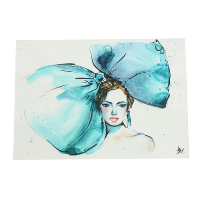"""A. Bray Watercolor Painting """"Woman with the Giant Bow"""""""