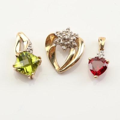 10K Yellow Gold 1.45 CT Peridot, Diamond and Synthetic Ruby Pendant Grouping