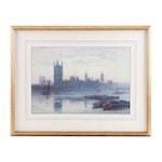 Emily Mary Bibbens Warren Watercolor Painting of Big Ben and House of Parliament