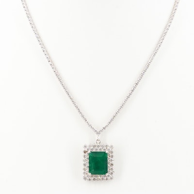 18K White Gold 5.39 CT Emerald and 4.72 CTW Diamond Necklace