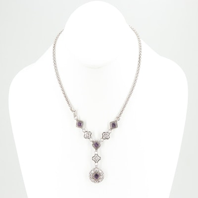Sterling Silver Amethyst Earrings and Necklace Set