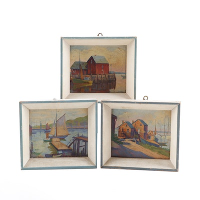 """Late 20th Century Oil Paintings including """"Fish House"""" and """"Sail Boats"""""""