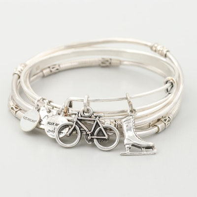 Sterling Silver Bangles and Silver Tone Charm Bracelet Featuring Alex and Ani