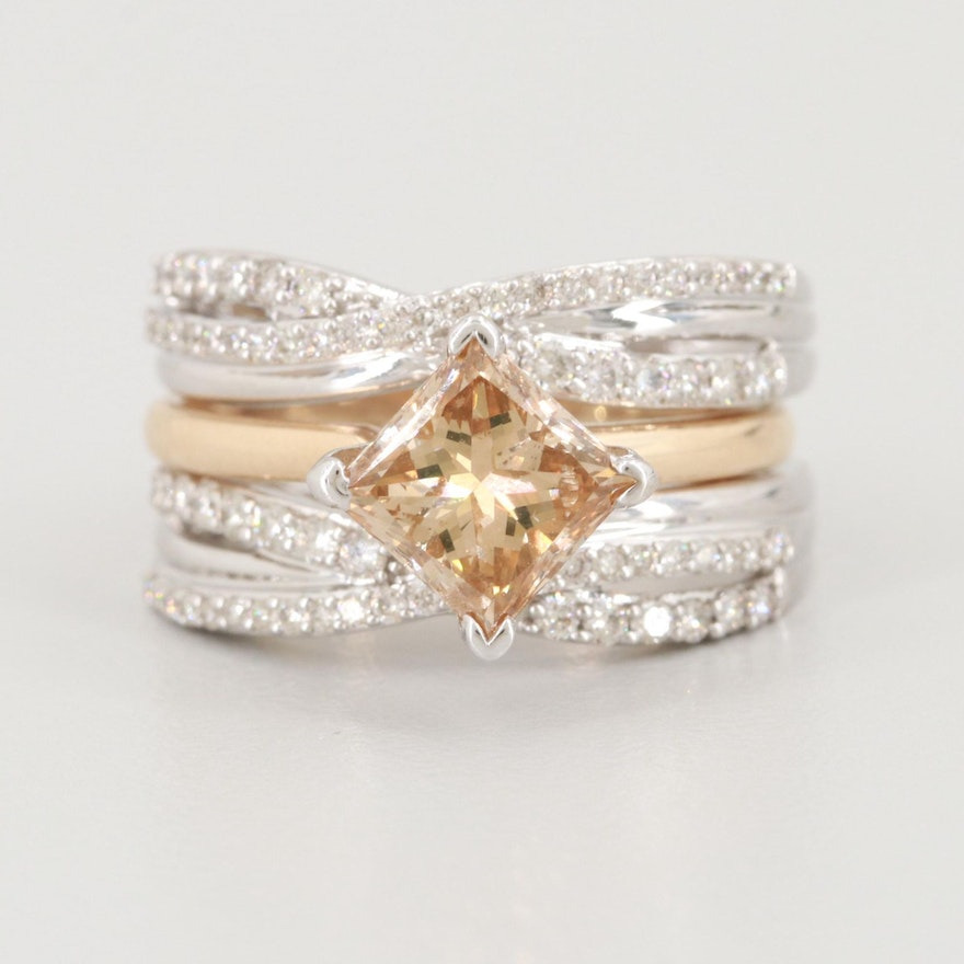14K Two Tone Gold 2.45 CTW Diamond Ring Set Including 1.74 CT Diamond Solitaire