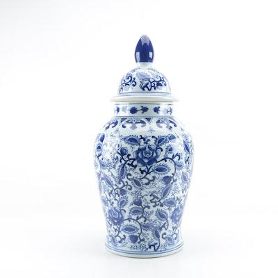 Chinese Blue and White Ceramic Urn