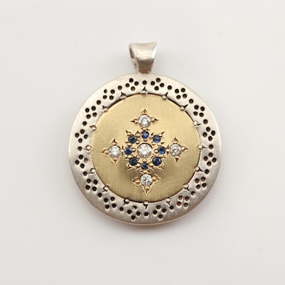 Sterling Silver 18K Yellow Gold Diamond and Sapphire Disc Pendant