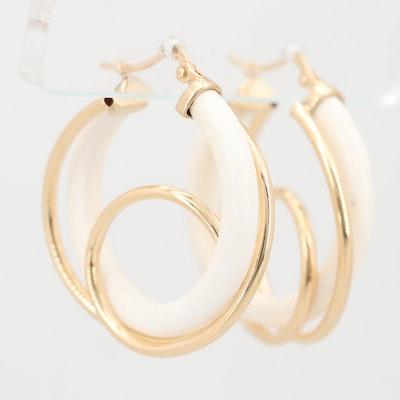 14K Yellow Gold Coral Hoop Earrings