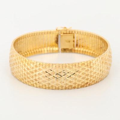 Gold Wash on Sterling Silver Diamond Cut Bracelet