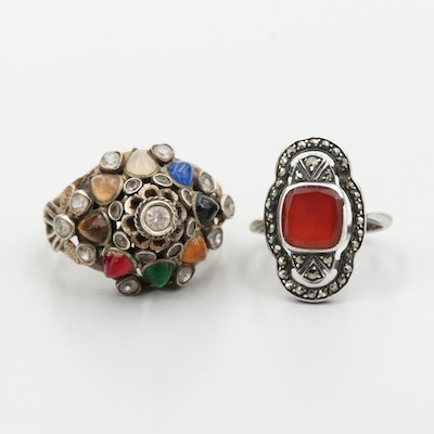 10K Yellow Gold and Sterling Silver Mixed Gemstone Rings