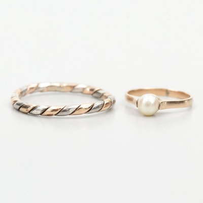 10K Yellow Gold and Sterling Twisted Band and 10K Gold Cultured Pearl Baby Ring
