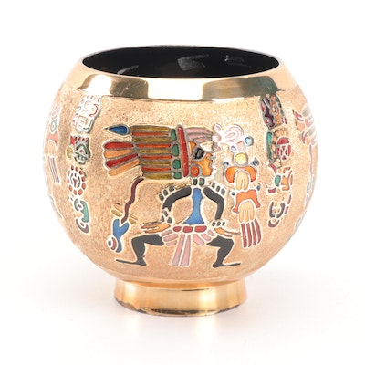 Miguel Pineda Mexican Champlevé Enameled Bowl, Mid-Century
