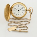 Vintage Swiss Austin Gold Tone Hunters Case Pocket Watch With Gold Filled Fob